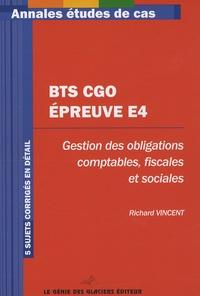 Ucareoutplacement.be BTS CGO Epreuve E4 - Gestion des obligations comptables, fiscales et sociales, 5 sujets corrigés Image