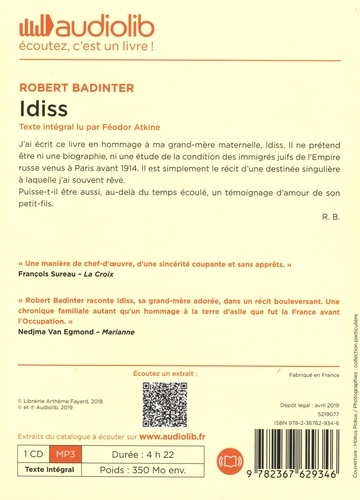 Idiss  avec 1 CD audio MP3