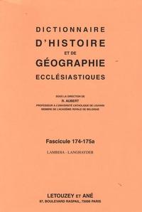 Roger Aubert - Dictionnaire d'histoire et de géographie ecclésiastiques - Fascicule 174-175a, Lambdia-Langhayder.