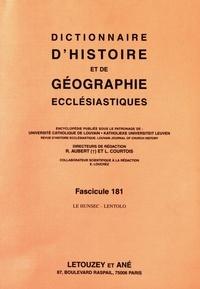 Roger Aubert et Luc Courtois - Dictionnaire d'histoire et de géographie ecclésiastiques - Fascicule 181, Le Hunsec - Lentolo.
