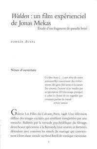 Romain Duval - Walden : un film expérienciel de Jonas Mekas - Etude d'un fragment de paradis brisé.
