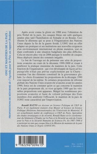 ONU et maintien de la paix : propositions de réforme. De l'Agenda pour la paix au rapport Brahimi