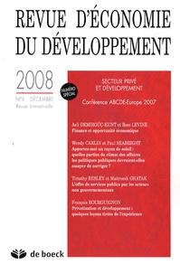 Ross Levine et Wendy J. Carlin - Revue d'économie du développement - Secteur privée et développement, 2008/4.