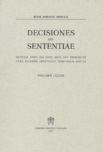Rotae Romanae Tribunal - Decisiones seu sententiae - Selectae inter eas quae anno 1997 prodierunt cura eiusdem apostolici tribunamis editae.