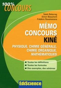 Mémo concours kiné- Physique, chimie générale, chimie organique, mathématiques : Définitions, Formules, Exemples, Schémas - Salah Belazreg |