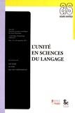 Salah Mejri et Inès Sfar - L'unité en sciences du langage.