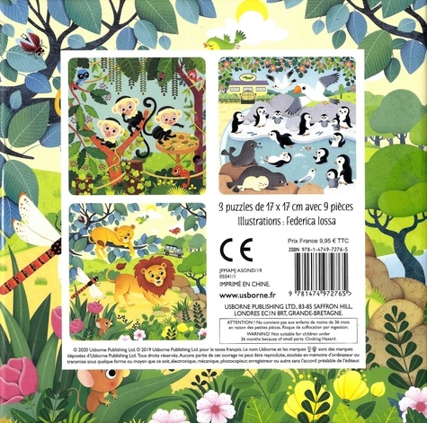 Le zoo. Avec un livre cartonné et 3 puzzles de 9 pièces