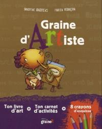 Sandrine Andrews et Fabien Veançon - Graine d'artiste - Coffret avec un livre d'art, un carnet d'activités et 8 crayons d'esquisse.