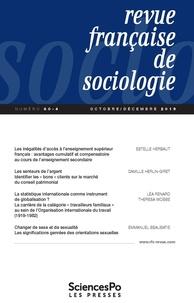 Sciences Po - Revue française de sociologie N° 60-4, octobre-déc : .