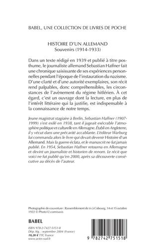 Histoire d'un Allemand. Souvenirs 1914-1933  édition revue et augmentée