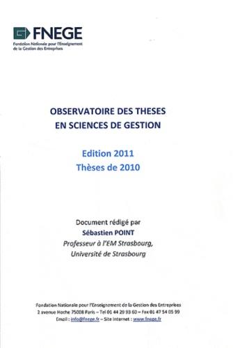 Sébastien Point - Observatoire des thèses en sciences de gestion 2010.