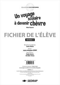 SEDRAP et Pauline Casters - Un voyage scolaire à devenir chèvre - Fichier de l'élève Niveau 2.