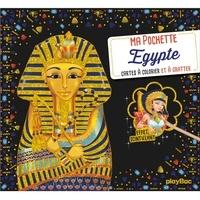 SeL - Egypte - Cartes à colorier et à gratter. 5 cartes à gratter scintillantes avec 1 pique en bois et 5 cartes à colorier.