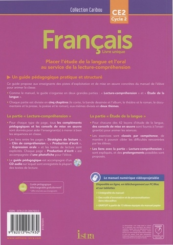 Français CE2 Cycle 2 Caribou. Guide pédagogique  Edition 2018 -  avec 1 CD audio
