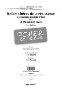 Serge Boëche et  SEDRAP - Enfants héros de la Résistance - Fichier de l'élève.