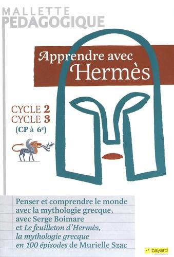 Apprendre avec Hermès cycles 2 et 3 (CP à 6e). Mallette pédagogique contenant : un guide pédagogique, un bloc de 100 fiches pédagogiques, un jeu de 64 cartes, deux posters + 33 étiquettes autocollantes  avec 1 DVD