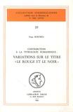 """Serge Bokobza - Contribution à la titrologie romanesque - Variations sur le titre """"Le Rouge et le Noir""""."""