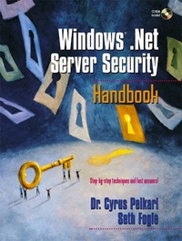 Deedr.fr Windows .NET Server Security Handbook. CD-ROM included Image