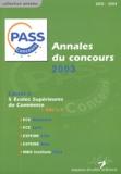 Séverine Jacob - Annales du concours Pass 2003 - Sujets et corrigés.