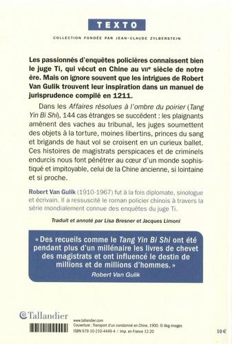 Affaires résolues à l'ombre du poirier. Un manuel chinois de jurisprudence et d'investigation policière du XIII siècle