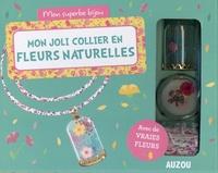 Shiilia - Mon joli collier en fleurs naturelles - Avec des petites fleurs séchées, de grandes fleurs séchées, 1 ruban en Liberty, 1 fiole cloche, 1 pince.