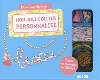 Shiilia - Mon joli collier personnalisé - Avec du ruban en liberty, du fil métallique, 1 pompon rose, 1 charm chat, 1 chaîne boules, des anneaux de raccord.