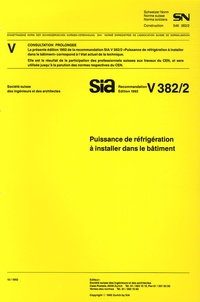 Sia - SN V 383/2 Puissance de réfrigération à installer dans le bâtiment.