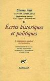 Simone Weil - Oeuvres complètes - Tome 2, Volume 1, Ecrits historiques et politiques, L'engagement syndical (1927-juillet 1934).