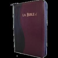 Société biblique de Genève - La Bible - Segond 21, L'original, avec les mots d'aujourd'hui. Reliée souple, similicuir, duo noir et bordeaux, fermeture éclair, tranches or.