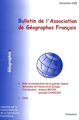 Antoine Beyer - Bulletin de l'Association des Géographes français Décembre 2008 : .