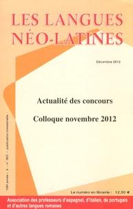 Lauro Capdevila - Les langues néo-latines N° 363, Décembre 201 : Actualité des concours - Colloque novembre 2012.