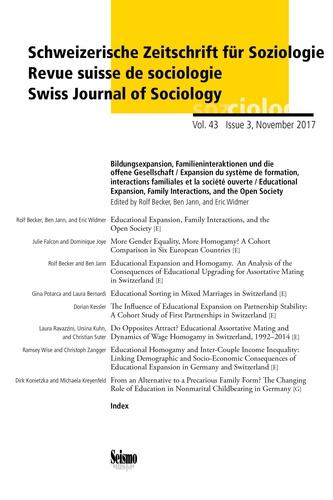 Rolf Becker et Ben Jann - Revue suisse de sociologie Volume 43 N° 3/2017 : Expansion du système de formation, interactions familiales et la société ouverte.