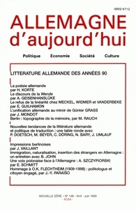 Hermann Korte et Achim Geisenhansluke - Allemagne d'aujourd'hui N° 148, Avril-juin 1 : Littérature allemande des années 90.