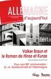 Jacques Poumet et Dieter Schlenstedt - Allemagne d'aujourd'hui N° 185, Juillet-sept : Volker Braun et le Roman de Hinze et Kunze.