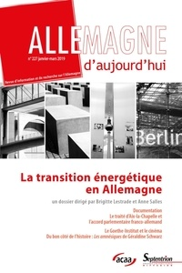 Brigitte Lestrade et Anne Salles - Allemagne d'aujourd'hui N° 227, janvier-mars : La transition énergétique en Allemagne.