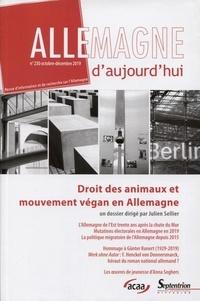Julien Sellier - Allemagne d'aujourd'hui N° 230, octobre-déce : Droits des animaux et mouvement végan en Allemagne.