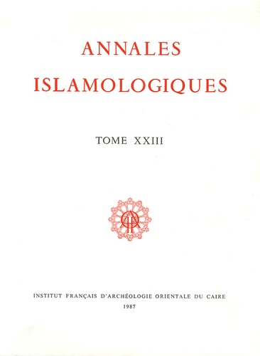 Maurice Martin et Henry Laurens - Annales islamologiques N° 23 : .