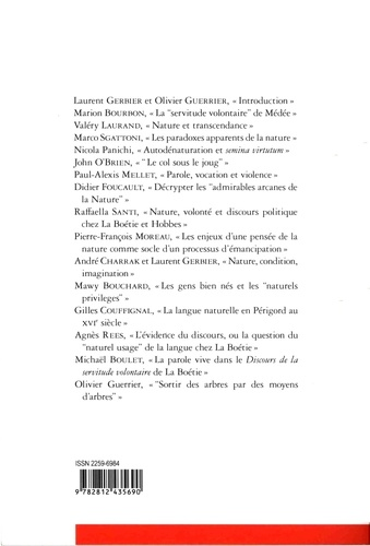 Cahiers La Boétie N° 4/2014 Nature et naturel : autour du Discours de la servitude volontaire