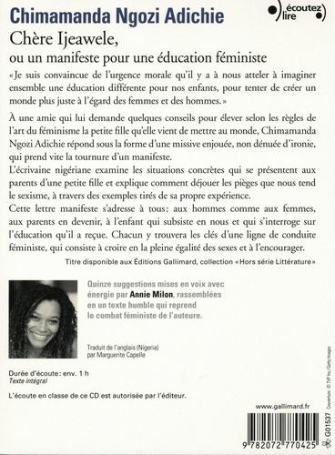 Chère Ijeawele, ou un manifeste pour une éducation féministe  avec 1 CD audio