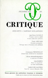 Auteurs divers - Critique N° 595, Décembre 199 : DESCARTES : L'AUBERGE HOLLANDAISE.