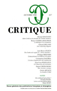 Editions de Minuit - Critique N° 617, Octobre 1998 : .