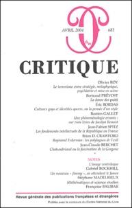Olivier Roy et Bertrand Prévost - Critique N° 683 Avril 2004 : .