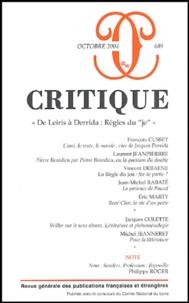 François Cusset et Laurent Jeanpierre - Critique N° 689, octobre 2004 : .