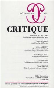 Jean-Marie Apostolidès et Claude Romano - Critique N° 691, Décembre 200 : .