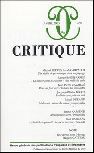 Michel Serres et Sarah Carvallo - Critique N° 695, Avril 2005 : .