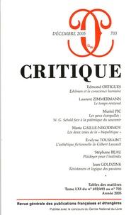Edmond Ortigues et Laurent Zimmermann - Critique N° 703, Décembre 200 : .
