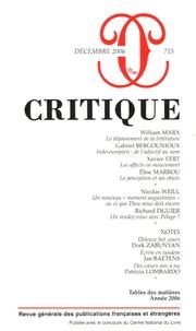 William Marx et Gabriel Bergounioux - Critique N° 715, Décembre 200 : .