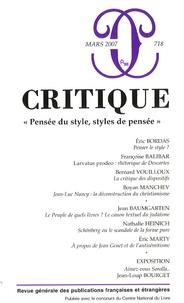 """Eric Bordas et Françoise Balibar - Critique N° 718, Mars 2007 : """"Pensée du style, styles de pensée""""."""