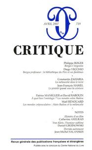 Philippe Roger et Diego Vecchio - Critique N° 719 avril 2007 : .