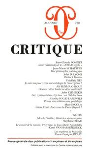 Jean-Claude Bonnet et Jean-Marie Schaeffer - Critique N° 720, Mai 2007 : .